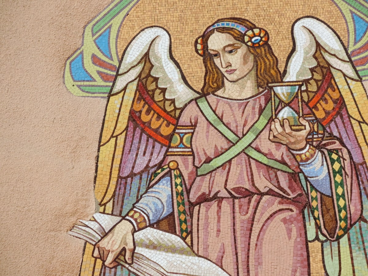 angel, book, mosaic, portrait, wings, woman, painting, art