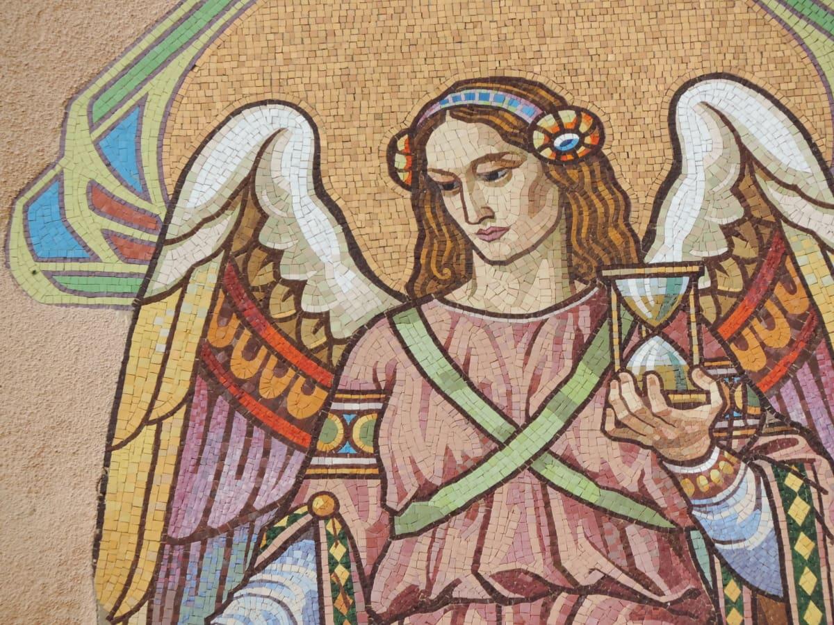 angyal, mozaik, portré, nő, Művészet, ősi, vallás, régi