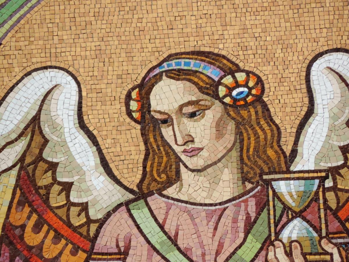 Άγγελος, Όμορφο, πρόσωπο, Καλών Τεχνών, μωσαϊκό, πορτρέτο, νεαρή γυναίκα, τέχνη