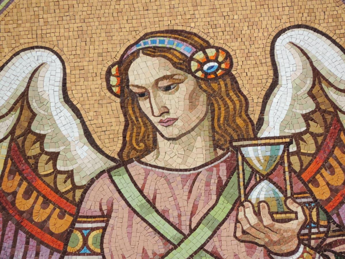 แองเจิล, แนวตั้ง, หญิงสาว, ตกแต่ง, ศิลปะ, โมเสค, เก่า, ศาสนา