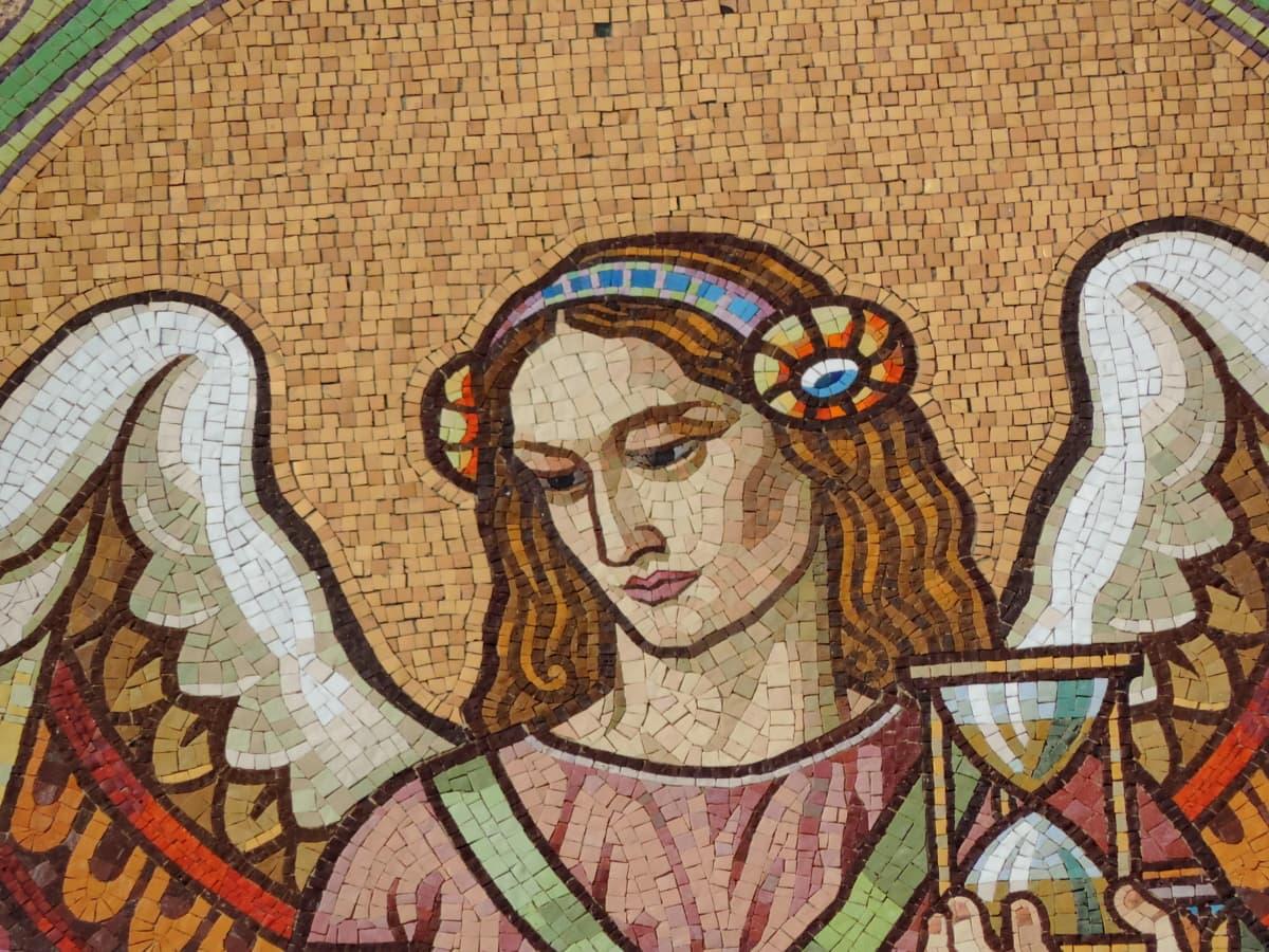 enkeli, kasvot, sisustus, taide, mosaiikki, vanha, kulttuuri, uskonto
