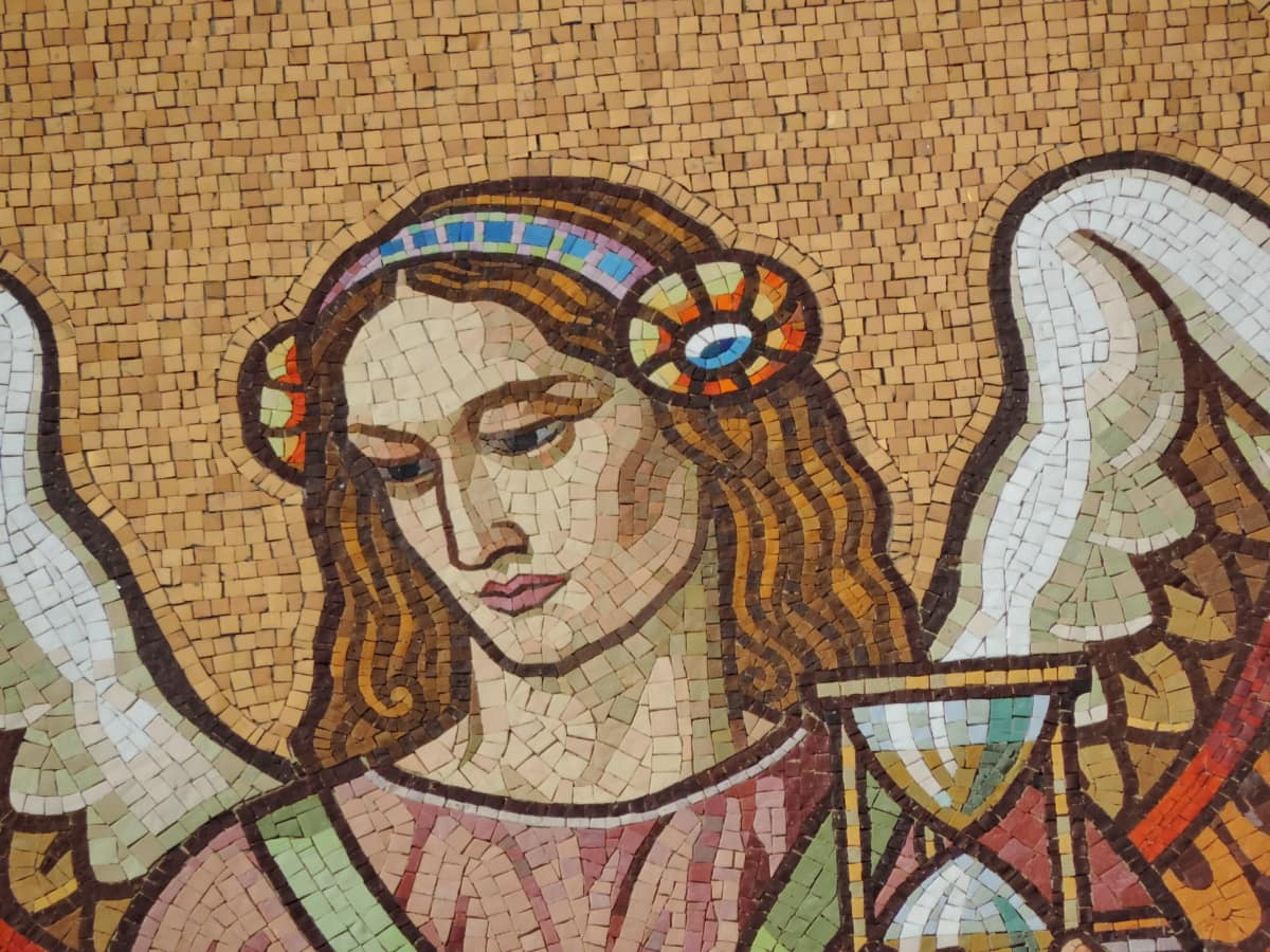 angel, face, pretty girl, saint, art, mosaic, decoration, wall