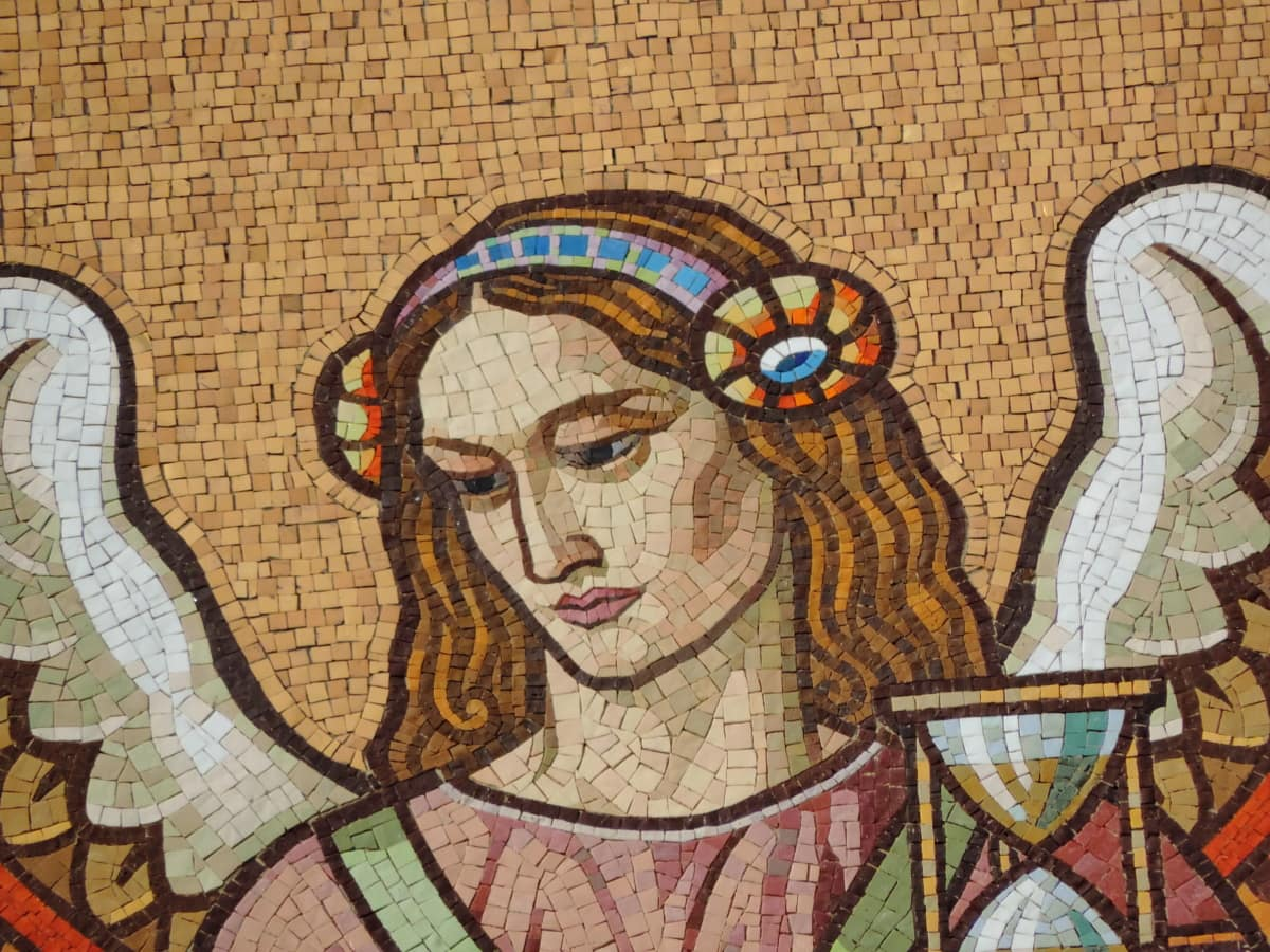 Angel, Portræt, spiritualitet, vinger, kvinde, dekoration, kunst, mosaik
