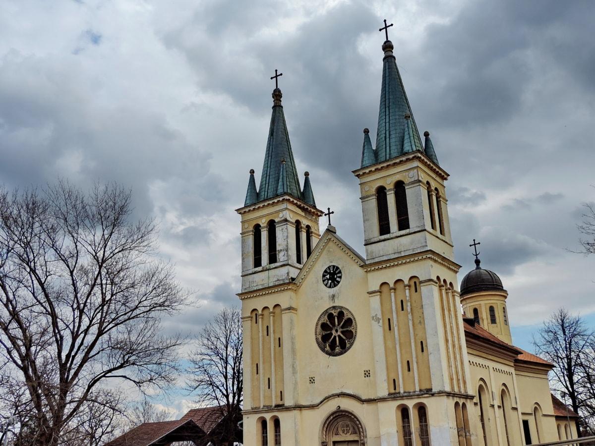 Църквата кула, архитектура, сграда, катедрала, църква, религия, манастир, на открито