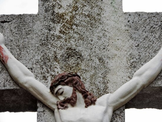 Christ, christianity, cross, crucifixion, sculpture, man, nature, dirty