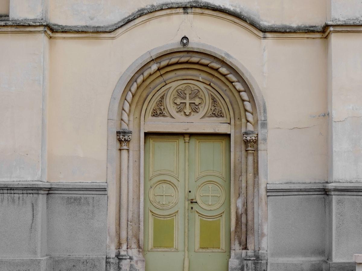 gotika, Heraldika, baština, ulazna vrata, fasada, vrata, stari, arhitektura
