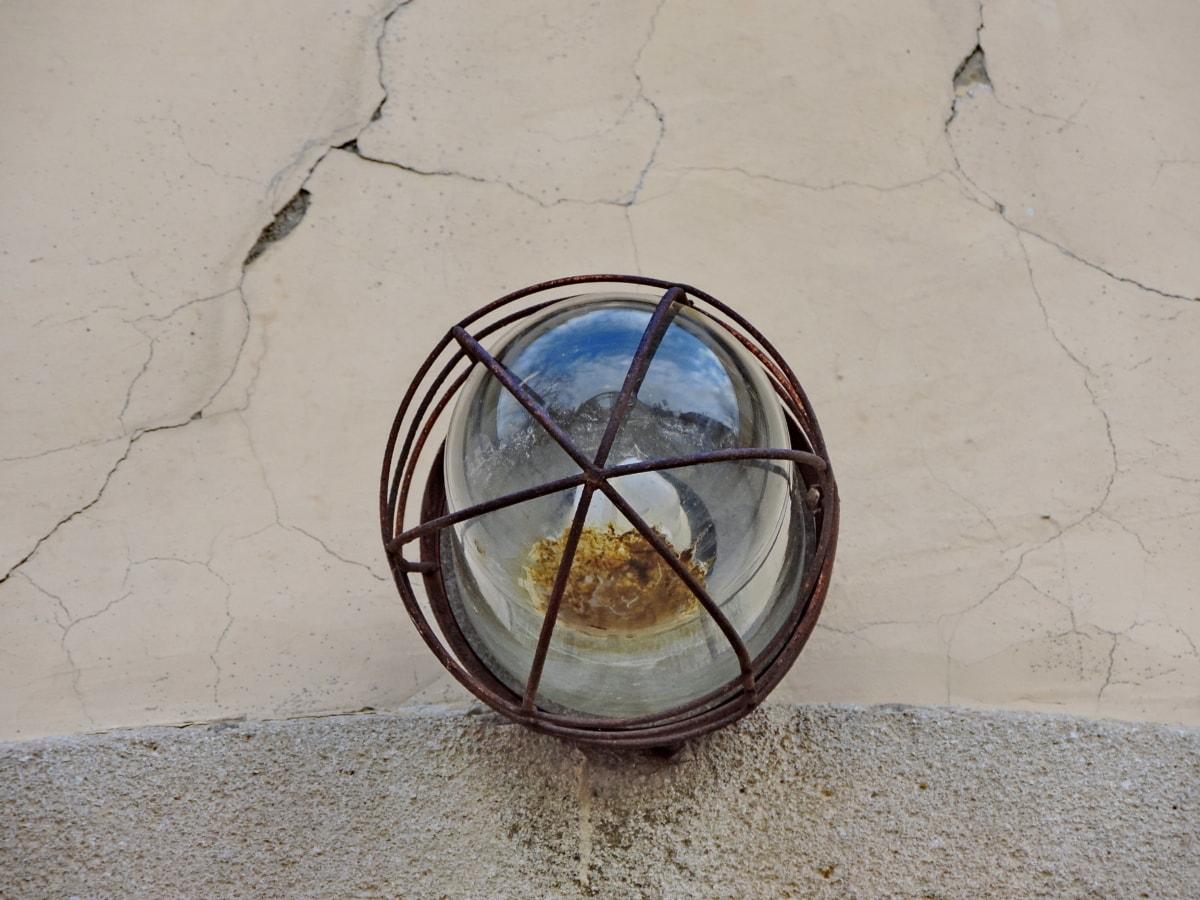 lijevano željezo, prljavi, staklo, žarulja, prozirna, zid, stari, retro