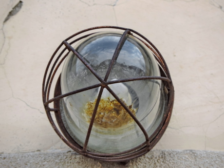 glass, light bulb, rust, sphere, transparent, wire, device, old