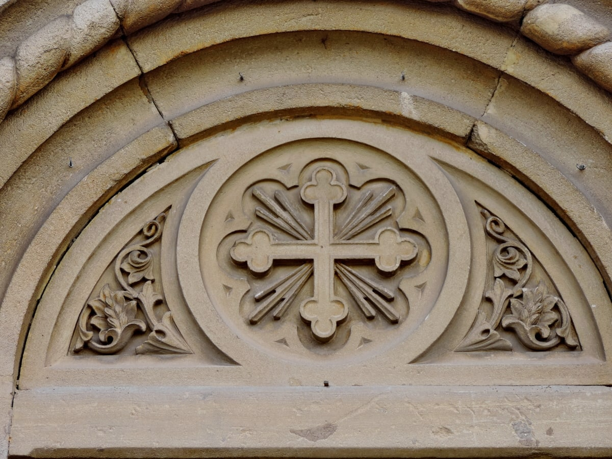 arch, christianity, cross, detail, ornament, architecture, church, building