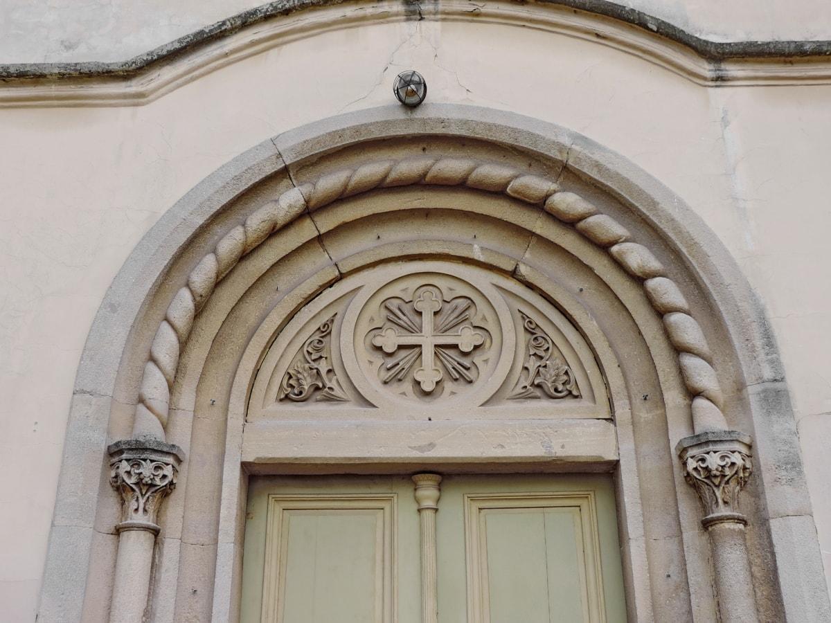 天主教, 入口, 前门, 教会, 老, 构建, 大教堂, 屋顶