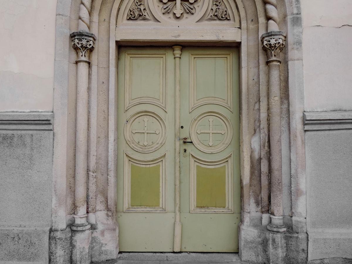 inngangsdør, ornament, gamle, arkitektur, fasade, bygge, kolonne, huset