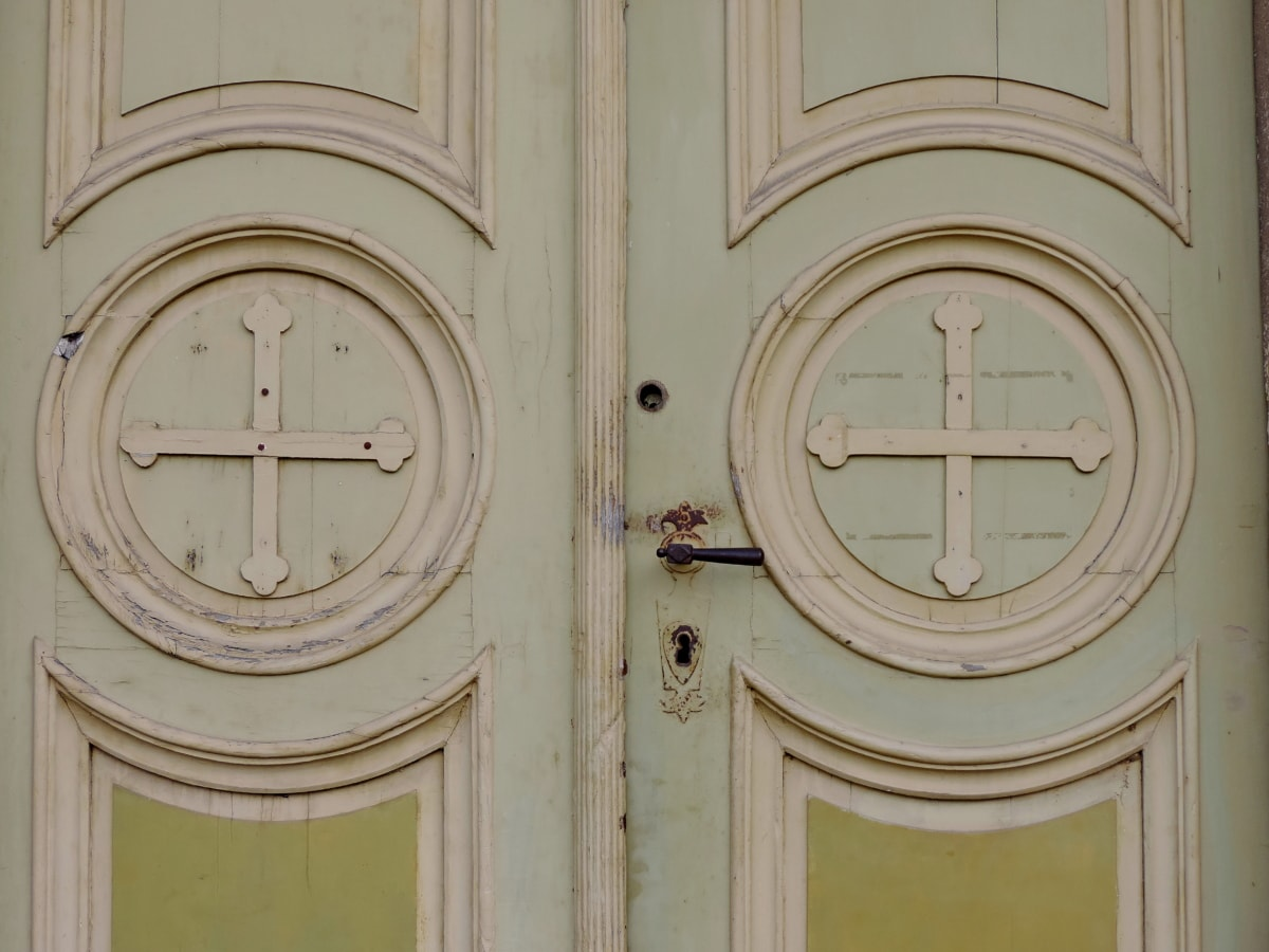 Дърводелски, катедрала, католическа, вход, входната врата, ръчно изработени, сграда, архитектура