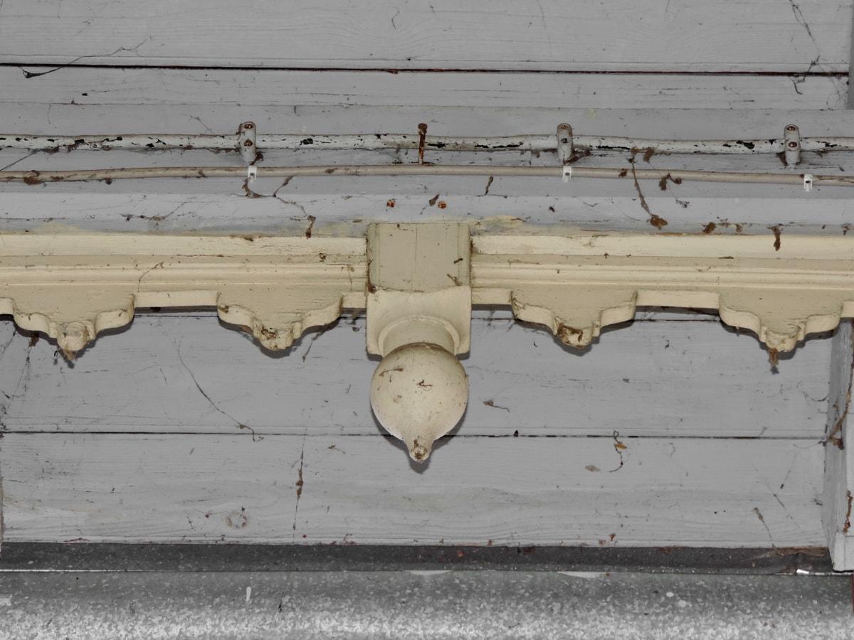 σκάλισμα, διακόσμηση, μπροστινό μέρος, βεράντα, ξύλινα, σπίτι, κτίριο, τοίχου