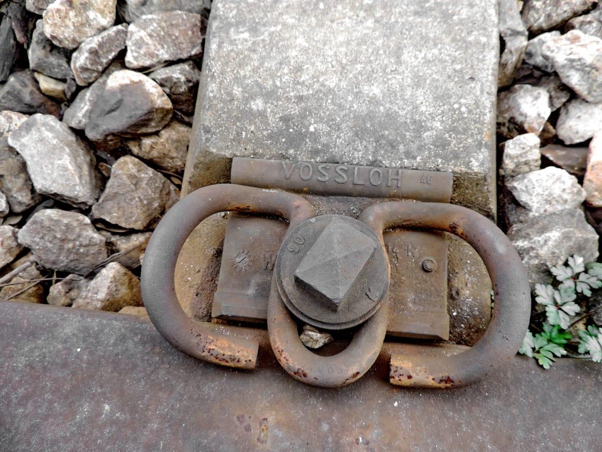 railway, lock, fastener, device, old, rust, iron, steel