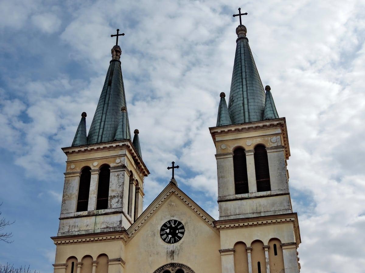 πύργος εκκλησιών, σύννεφα, θρησκεία, Πύργος, Καθεδρικός Ναός, αρχιτεκτονική, Εκκλησία, Σταυρός