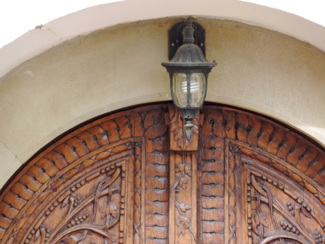 arch, cast iron, electricity, front door, light bulb, ornament, old, building