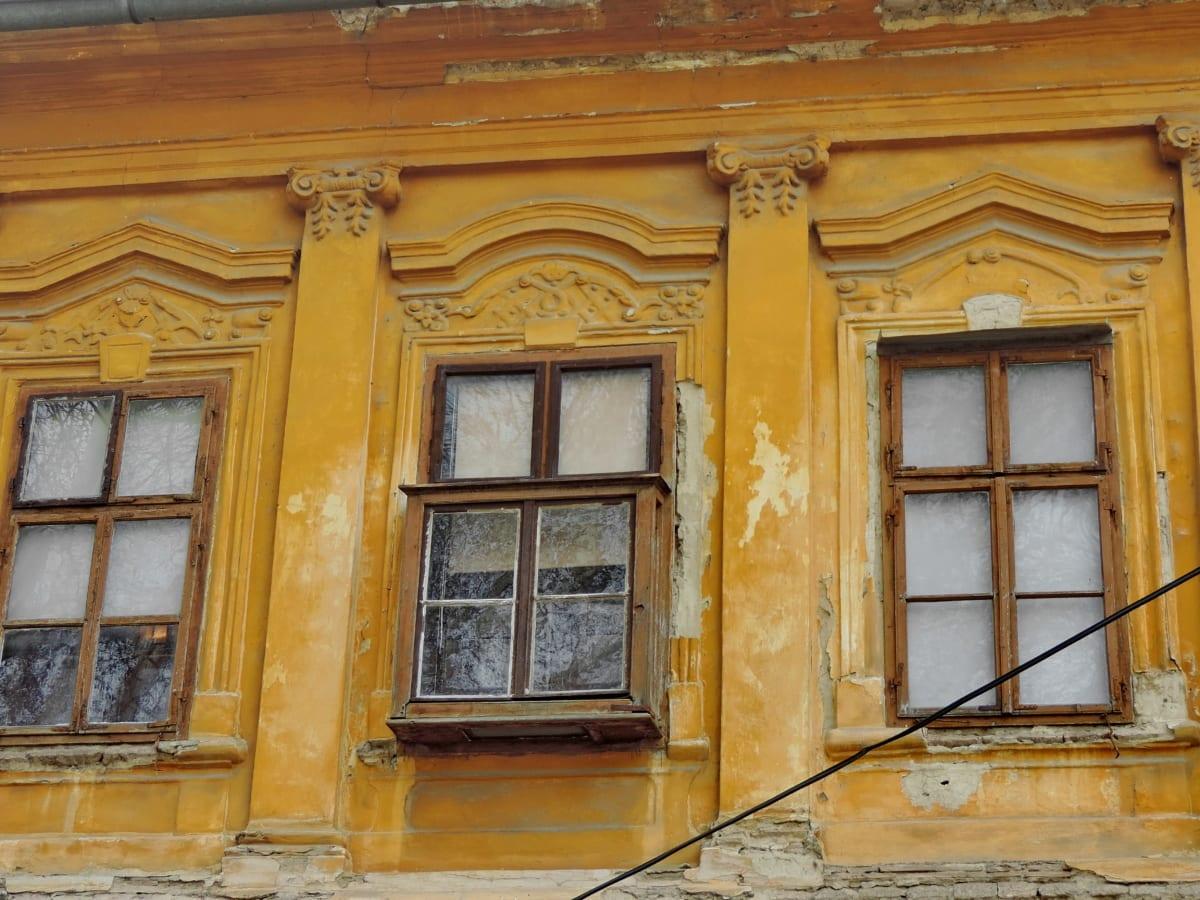 abandonné, baroque, façade, fenêtre, architecture, vieux, Création de, maison
