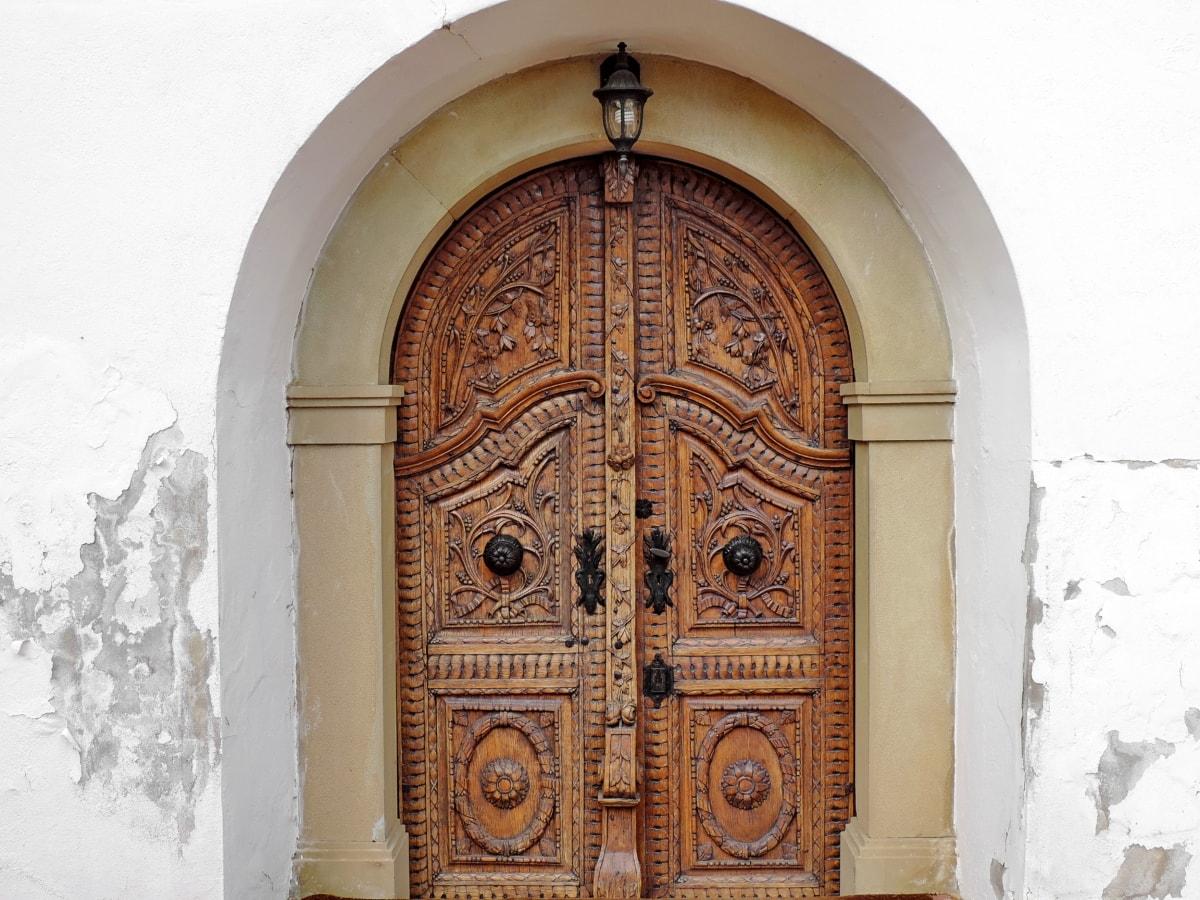 καμάρα, Ξυλουργικές εργασίες, σκάλισμα, μπροστινή πόρτα, Δρυς, πόρτα, αρχιτεκτονική, κτίριο