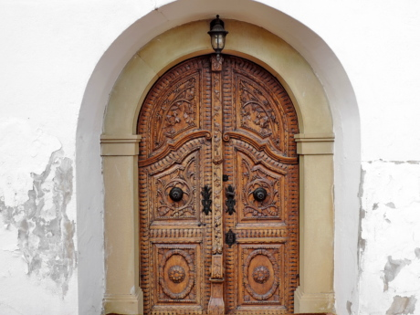 arch, carpentry, carving, front door, oak, door, architecture, building