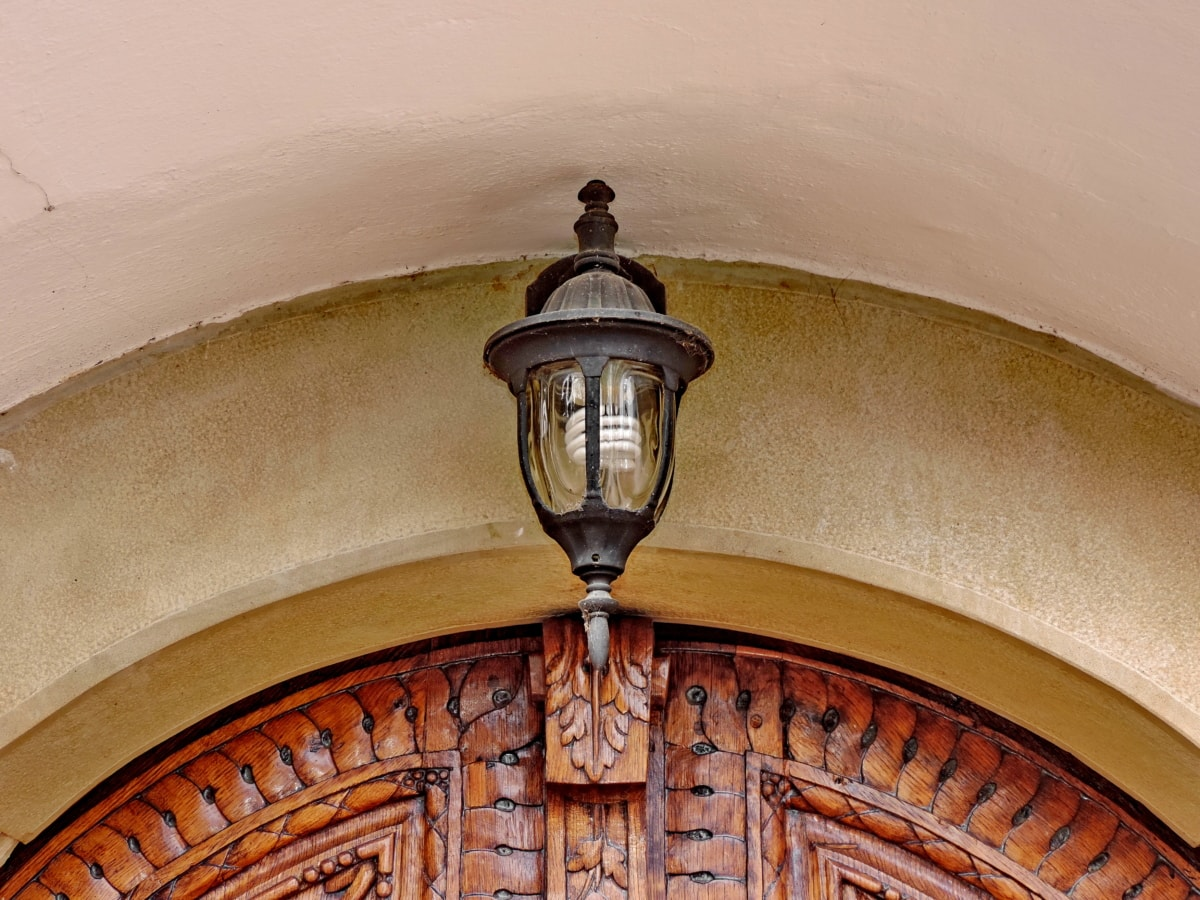 arch, cast iron, entrance, front door, lantern, light bulb, teak wood, building