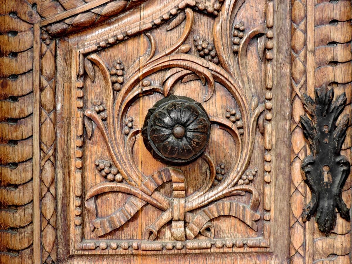 Ξυλουργικές εργασίες, στολίδι, ξυλεία, βικτοριανή, σκάλισμα, παλιά, πόρτα, αρχιτεκτονική