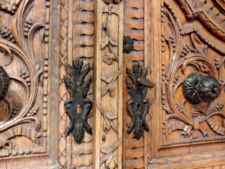 cast iron, old, door, wood, art, decoration, wooden, carving
