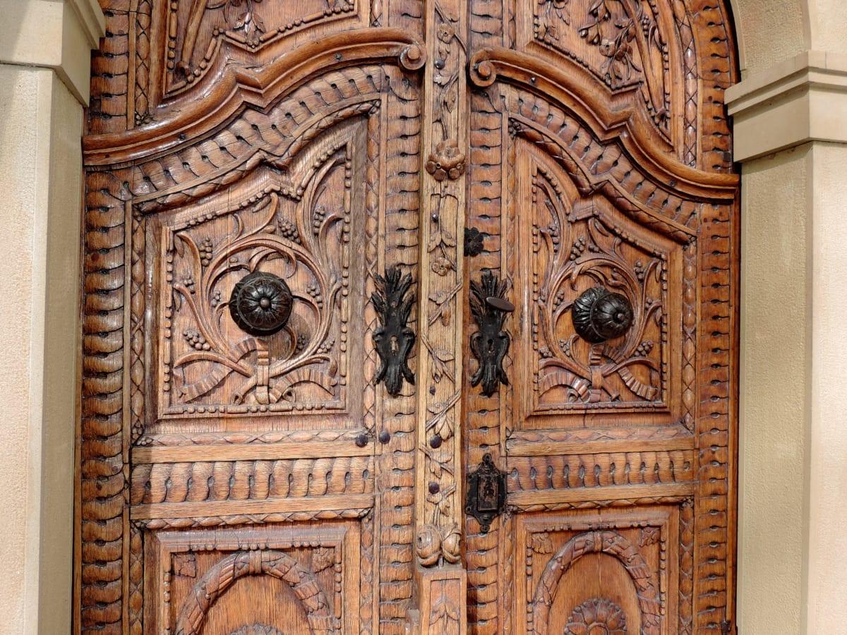 Όμορφο, στολίδι, tiikkipuu, σκάλισμα, τέχνη, πόρτα, παλιά, πόρτα