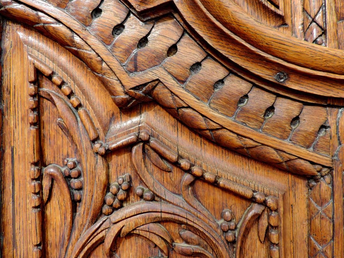 feito à mão, ornamento, madeira de teca, cinzeladura, madeira, velho, projeto, carpintaria