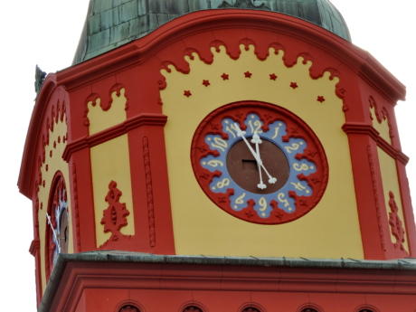 analog clock, architectural style, baroque, colorful, tower, clock, architecture, building
