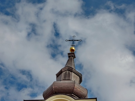 architectural style, blue sky, church tower, cross, Heaven, temple, building, religion