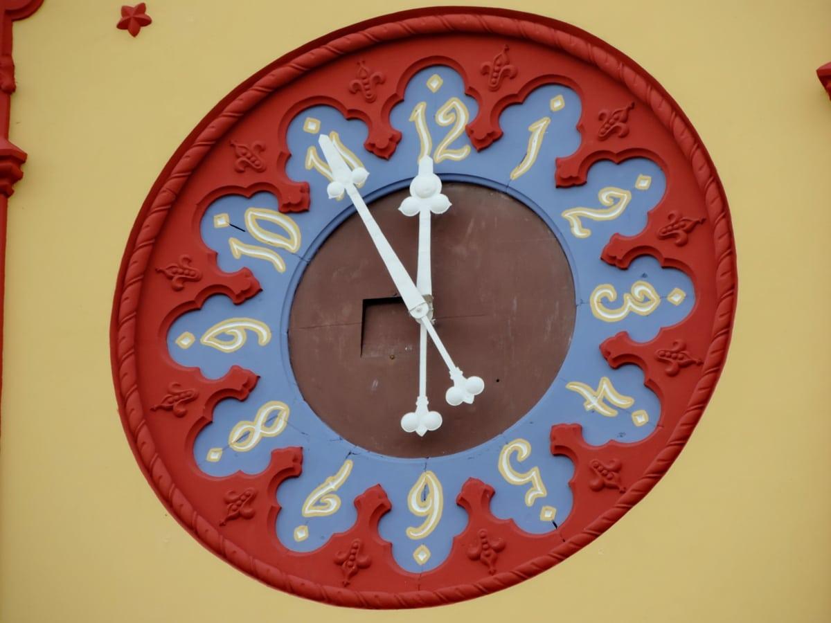 analog clock, arabesque, baroque, colorful, facade, ornament, tower, hour