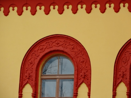 baroque, decoration, facade, red, yellow, building, architecture, traditional
