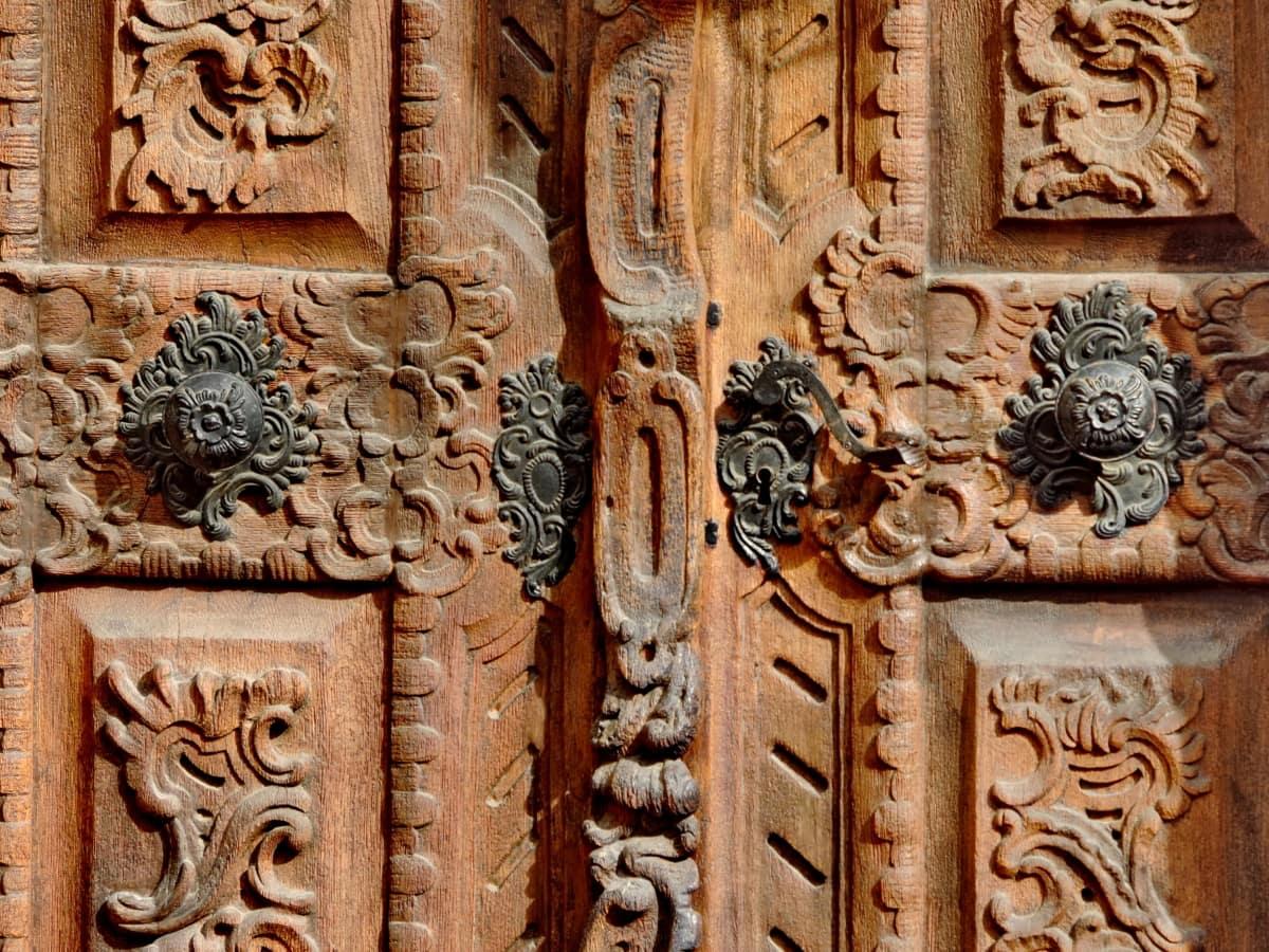 seni, tukang kayu, pintu, masuk, Imperial, kayu jati, Victoria, arsitektur