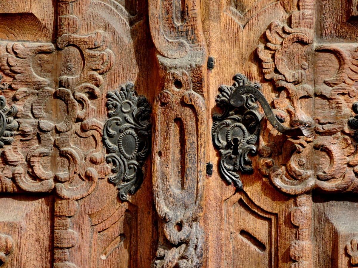 tømrerarbejde, udskæring, støbejern, kultur, foran døren, teak træ, arkitektur, skulptur