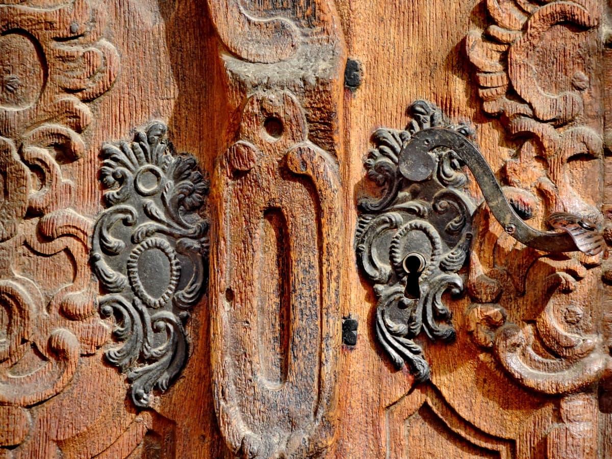 faragás, öntöttvas, bejárati ajtó, kézzel készített, teak fa, régi, lyuk, ajtó