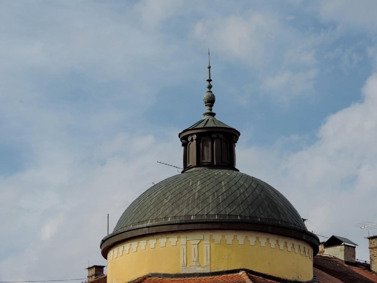 μπαρόκ, μπλε του ουρανού, Πολιτισμός, στο κέντρο της πόλης, στον τελευταίο όροφο, Θόλος, κτίριο, στέγη