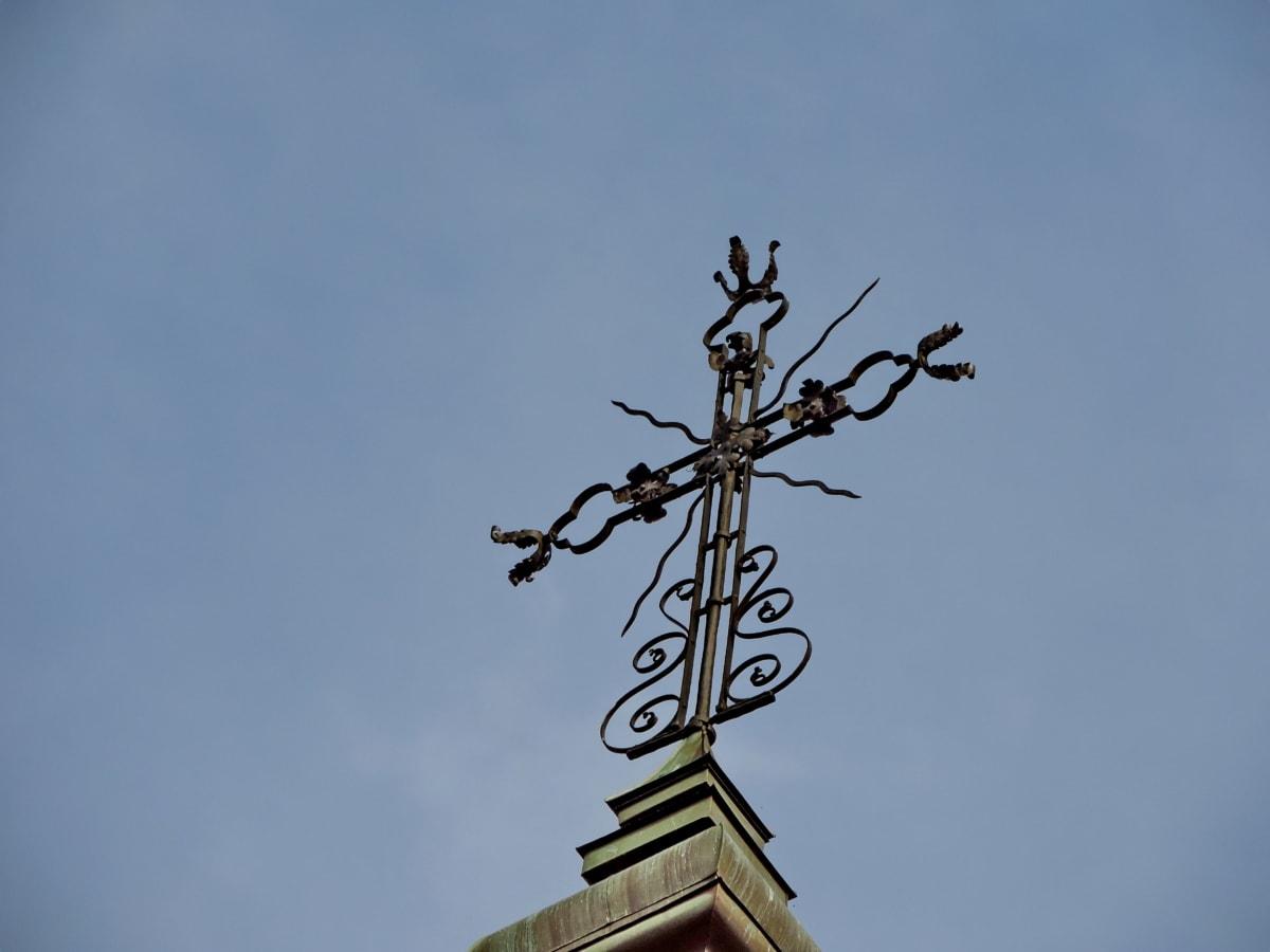 Крест, Небеса, наследие, на открытом воздухе, Голубое небо, Архитектура, дневной свет, Ярмарка Погода
