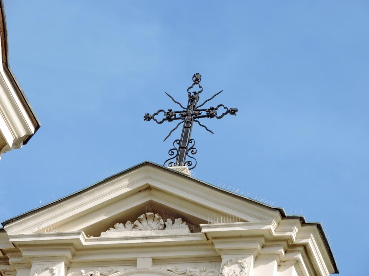 чугун, кръст, ръчно изработени, исторически, духовност, архитектура, сграда, стабилизатор