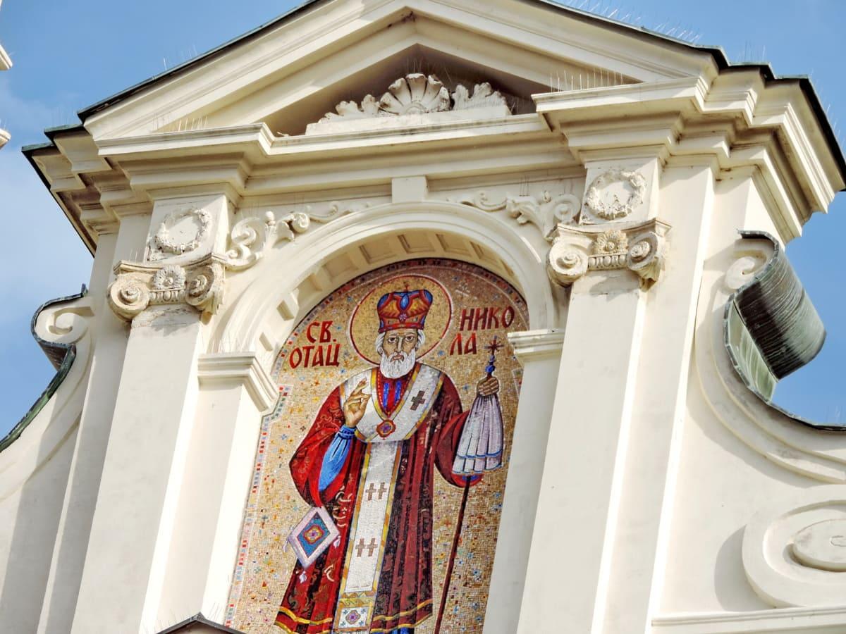 santo, Serbia, tengara, fasad, arsitektur, bangunan, kolom, budaya