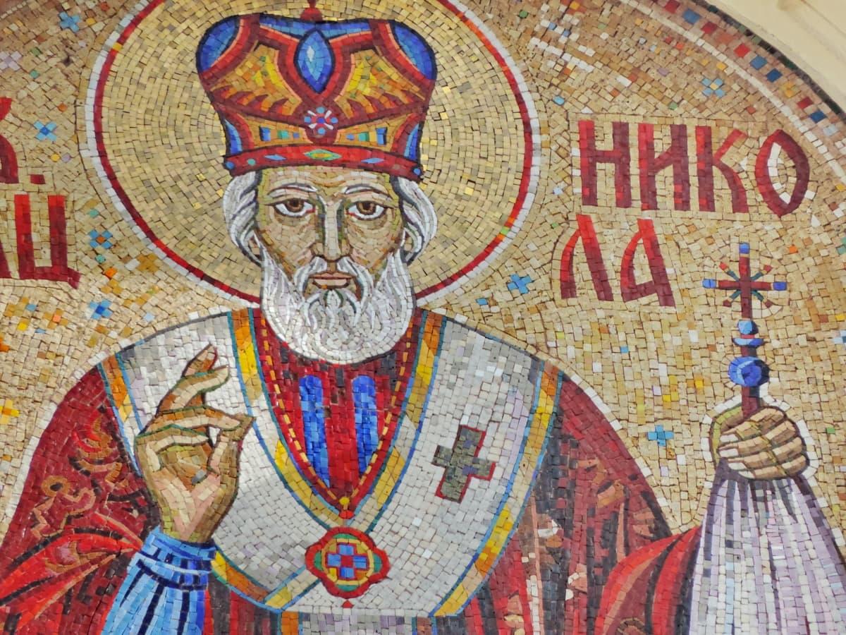 Ορθόδοξη, θρησκεία, Αγίου, Σερβία, τέχνη, μωσαϊκό, εκτύπωση, Εικονογράφηση