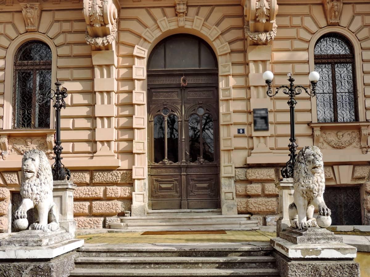 входната врата, дворец, пребиваване, скулптура, стълбище, сграда, Сил, архитектура