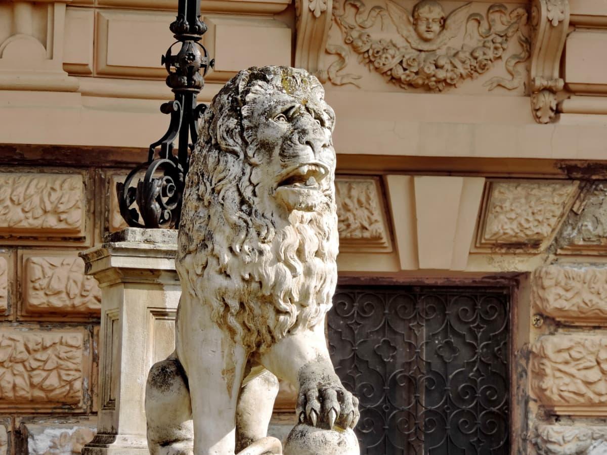 lion, architecture, sculpture, statue, column, art, ancient, antique