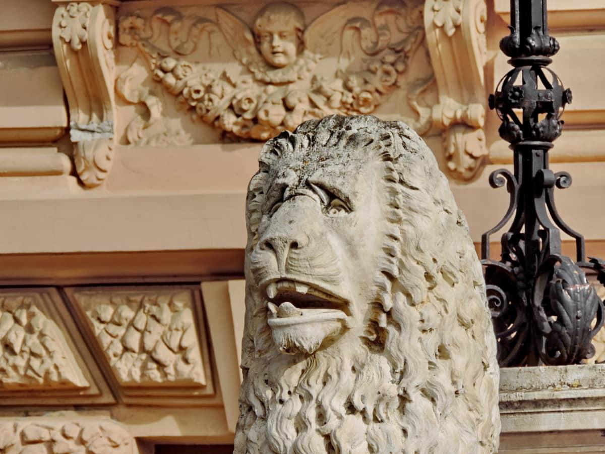 чугун, ръчно изработени, Лъв, дърворезба, изкуство, статуя, скулптура, архитектура