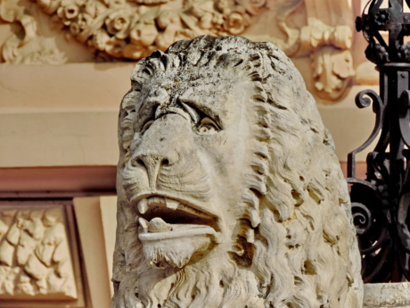 carving, head, lion, marble, sculpture, disguise, covering, art