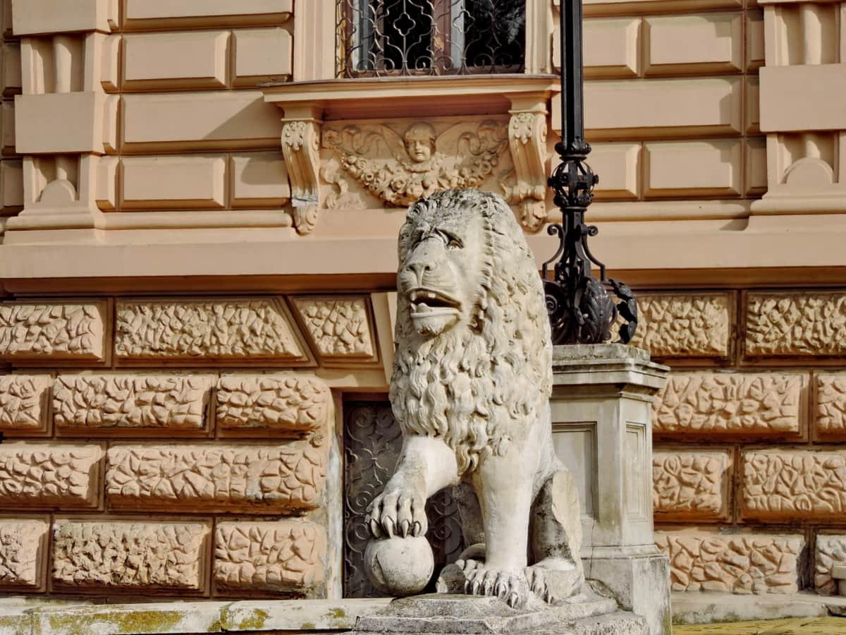 фасада, Лъв, дворец, пребиваване, скулптура, архитектура, статуя, колона