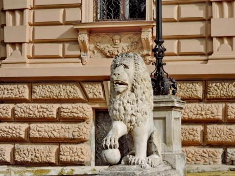 facade, lion, palace, residence, sculpture, architecture, statue, column