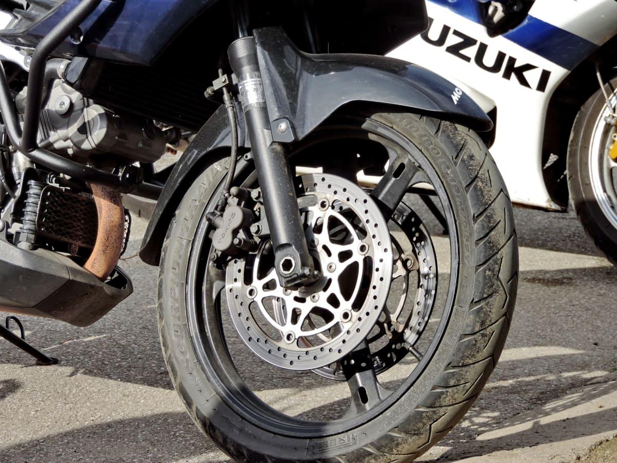bremse, motorcykel, stål, rat, hjulet, køretøj, transport, dæk