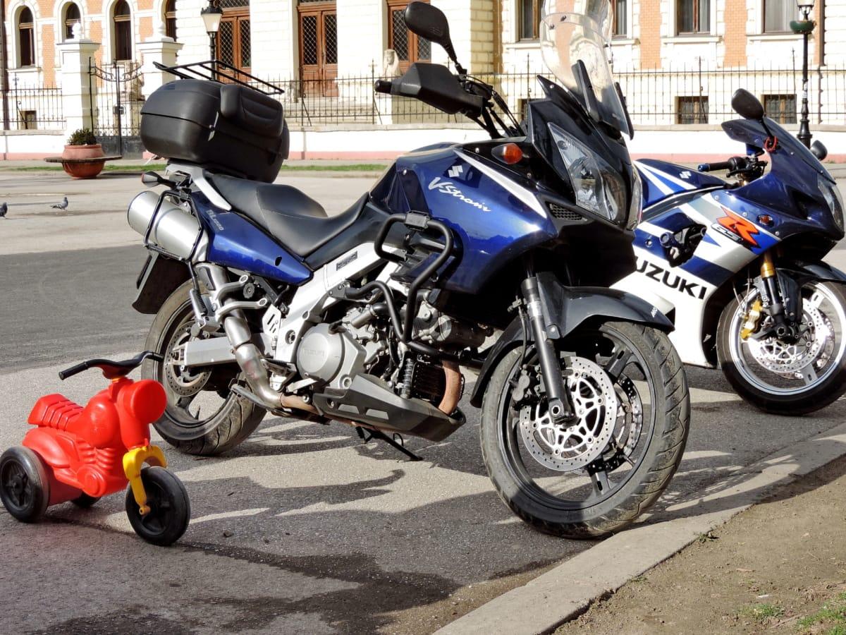 motocikl, parkiralište, ulica, igračka, urbano područje, vozila, prijevoz, bicikl