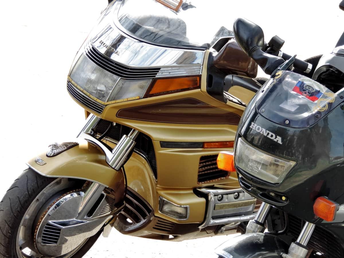 headlight, modern, motorbike, stainless steel, steering wheel, vehicle, motor, conveyance