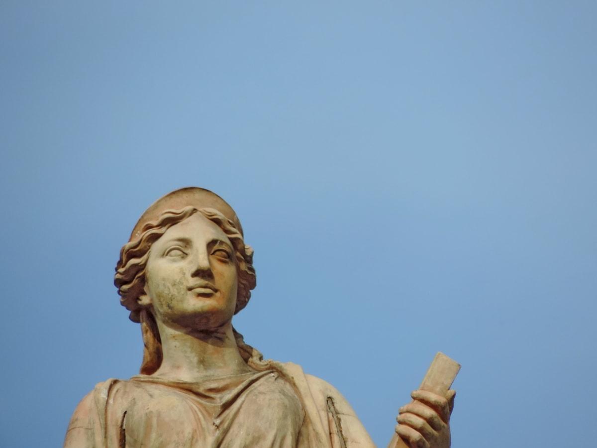 modrá obloha, Socha, sochárstvo, náboženstvo, umenie, portrét, denné svetlo, žena